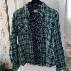 Tommy Girl Green and Blue Flannel Dress Shirt